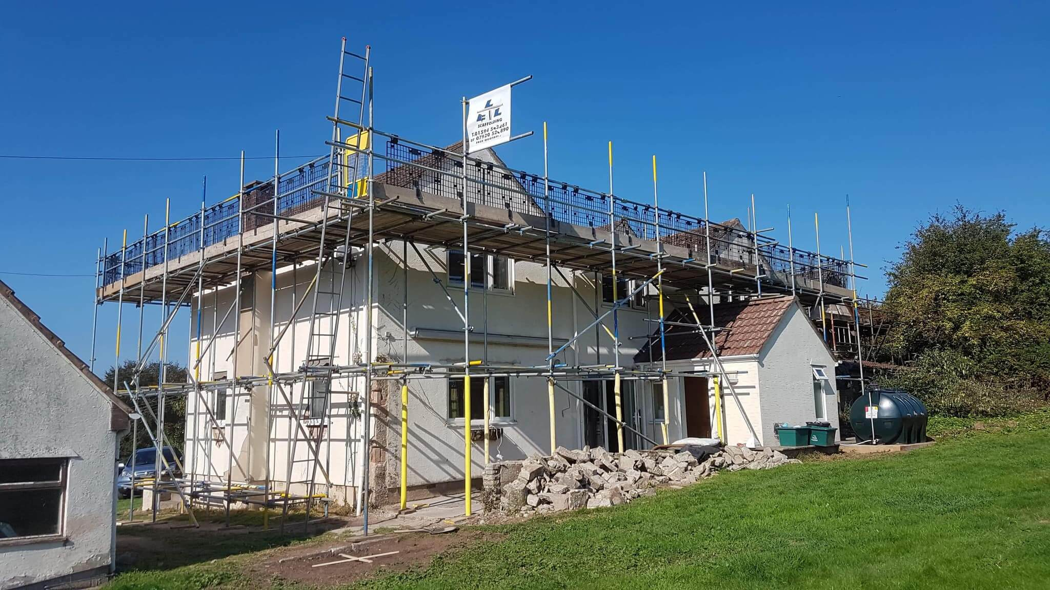 Full domestic scaffolding for roof work in Coleford