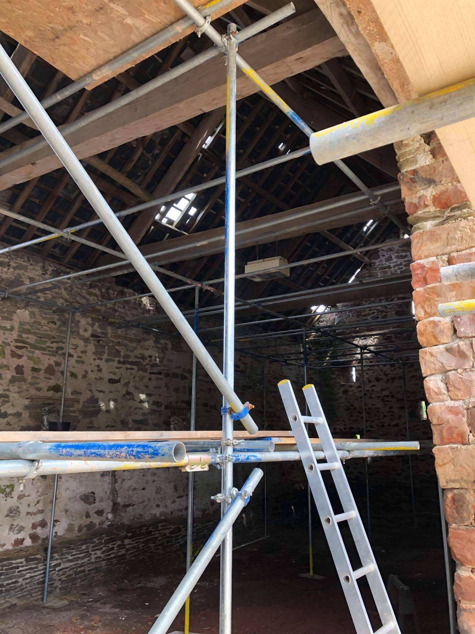 Internal scaffolding in a barn roof in Cinderford