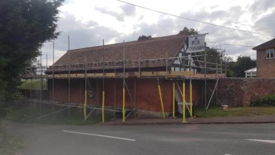 Scaffolding on a slope in Monmouth