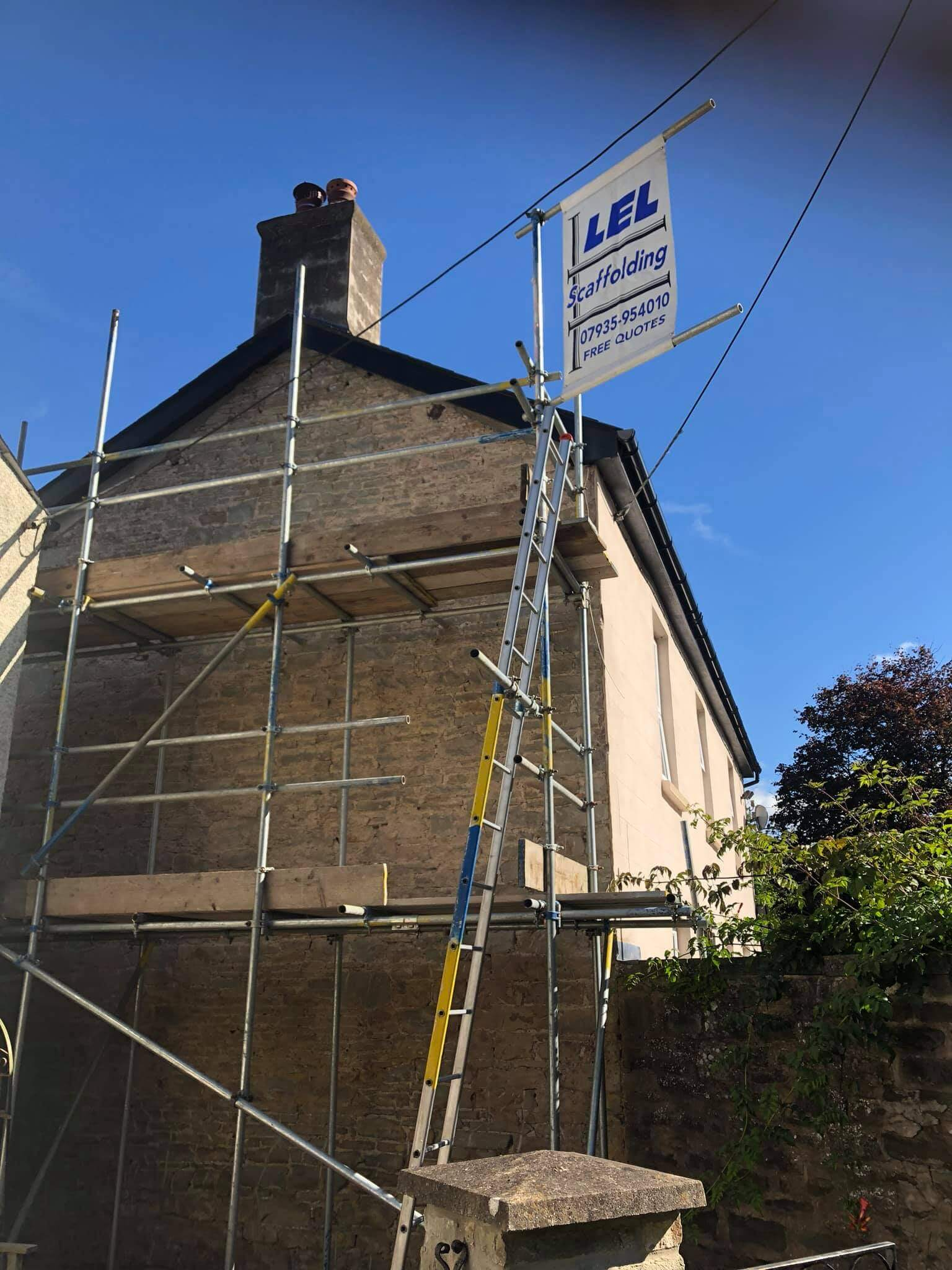 Two tier scaffolding for stonework and pointing Forest of Dean